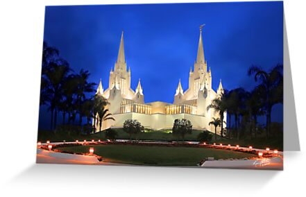 San Diego Temple Evening Rain 20x30 by Ken Fortie