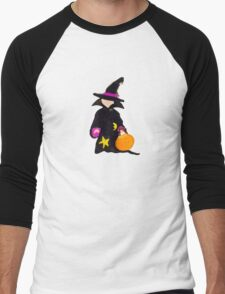 Toddies October Halloween Trick or Treat Toddler Witch Men's Baseball ¾ T-Shirt