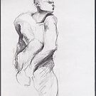 drawing 3 about Nijinsky of Rodin by Pascale Baud