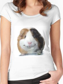 Keep Smiling with Angeelo the Guinea Pig! Women's Fitted Scoop T-Shirt