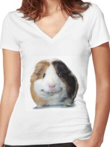 Keep Smiling with Angeelo the Guinea Pig! Women's Fitted V-Neck T-Shirt