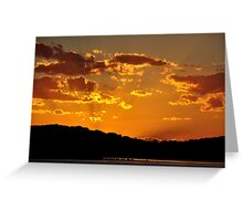 Golden Christmas Sunet - Lake Macquarie NSW Australia Greeting Card
