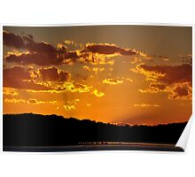 Golden Christmas Sunet - Lake Macquarie NSW Australia Poster