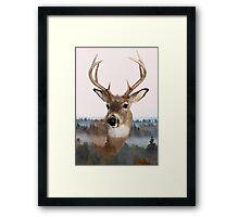 Whitetail Deer Double Exposure Framed Print