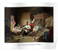 President Lincoln Writing The Proclamation Of Freedom Poster