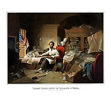 President Lincoln Writing The Proclamation Of Freedom Photographic Print