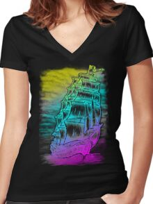 Caleuche Ghost Pirate Ship / Color Women's Fitted V-Neck T-Shirt