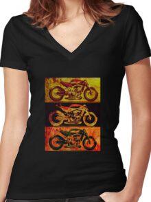 Fast Naked Bike Women's Fitted V-Neck T-Shirt