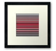 Vibrant red and monochrome horizontal linework Framed Print