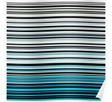 Abstract monochrome and blue horizontal linework Poster