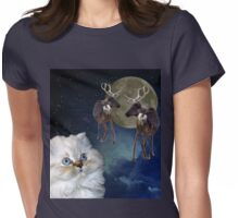 Cat and Reindeers Womens Fitted T-Shirt