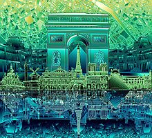 paris skyline abstract 5 by BekimART