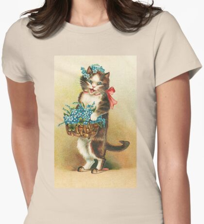 Cute Cat holding basket of flowers Womens Fitted T-Shirt