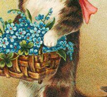 Cute Cat holding basket of flowers Sticker