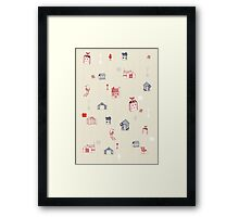 Cute objects house, bird, store Framed Print