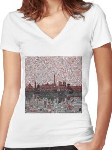 paris skyline abstract 7 Women's Fitted V-Neck T-Shirt