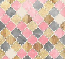 Silver Grey, Soft Pink, Wood & Gold Moroccan Pattern by micklyn