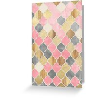 Silver Grey, Soft Pink, Wood & Gold Moroccan Pattern Greeting Card