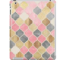 Silver Grey, Soft Pink, Wood & Gold Moroccan Pattern iPad Case/Skin