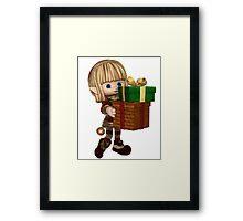 Cute Toon Christmas Elf Carrying Presents Framed Print