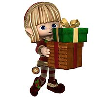 Cute Toon Christmas Elf Carrying Presents Photographic Print