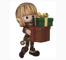 Cute Toon Christmas Elf Carrying Presents One Piece - Short Sleeve