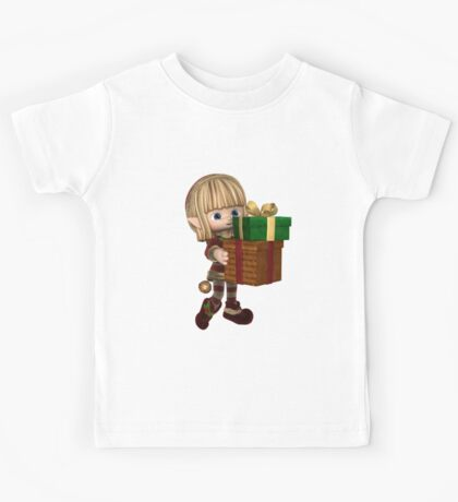 Cute Toon Christmas Elf Carrying Presents Kids Tee