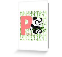 p for panda Greeting Card