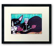 Tuxedo Cat Wine and Roses Framed Print