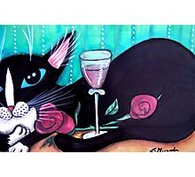 Tuxedo Cat Wine and Roses Photographic Print