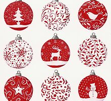 Red and white Christmas baubles by lizblackdowding