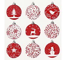 Red and white Christmas baubles Photographic Print