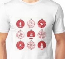 Red and white Christmas baubles Unisex T-Shirt