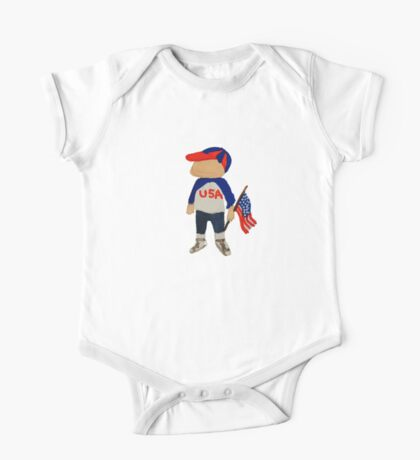 Toddies Hooray USA Red, White and Blue Fourth of July Baby BoyToddler One Piece - Short Sleeve