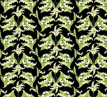 Lily of the Valley Pattern on Black by helikettle