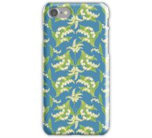 Lily of the Valley Pattern on Blue iPhone Case/Skin