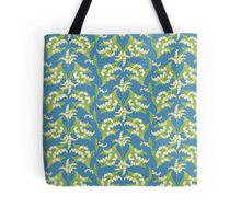 Lily of the Valley Pattern on Blue Tote Bag
