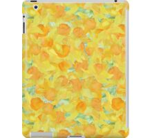 Watercolor Golden Daffodils and Matching Check Gingham iPad Case/Skin