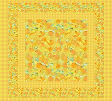 Watercolor Golden Daffodils and Matching Check Gingham by Judy Adamson