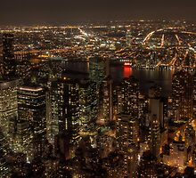Night view over New York City by michielmos