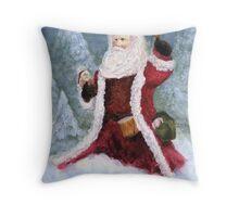Woodlands Santa Throw Pillow