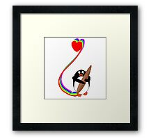Penguin Painting with Rainbow Framed Print