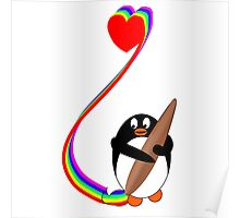 Penguin Painting with Rainbow Poster