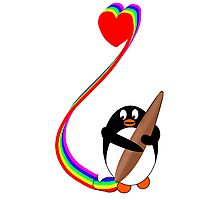 Penguin Painting with Rainbow Photographic Print