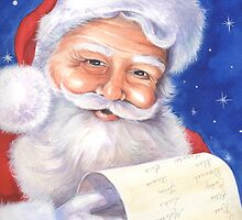 Smiling Santa with his list - naughty or nice? by lizblackdowding