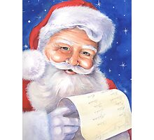 Smiling Santa with his list - naughty or nice? Photographic Print