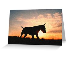 English Bull Terrier against Sunset, Oil Painting Style Print Greeting Card