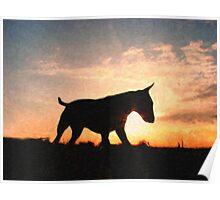 English Bull Terrier against Sunset, Oil Painting Style Print Poster