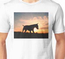 English Bull Terrier against Sunset, Oil Painting Style Print Unisex T-Shirt