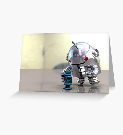 Jo Bot VS Little Blue Bot Greeting Card